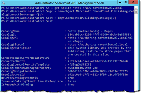 PowerShell console with sample catalog connection information entry displayed