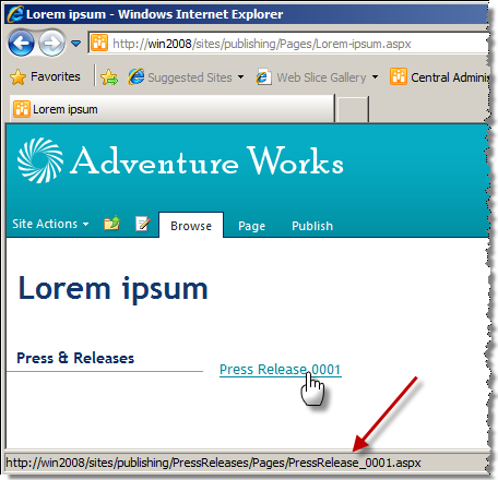 Lorem ipsum page with a link pointing to the Press Release 0001
