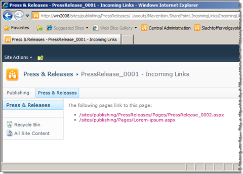 Both incoming links for the Press Release 0001 page displayed correctly by the Mavention Incoming Links report