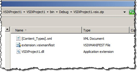 VSIX package with the assembly from the VSIX project included