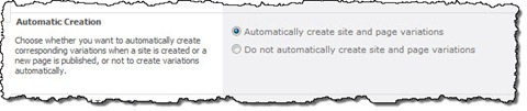 The Automatic Creation option highlighted in the Variation Settings page