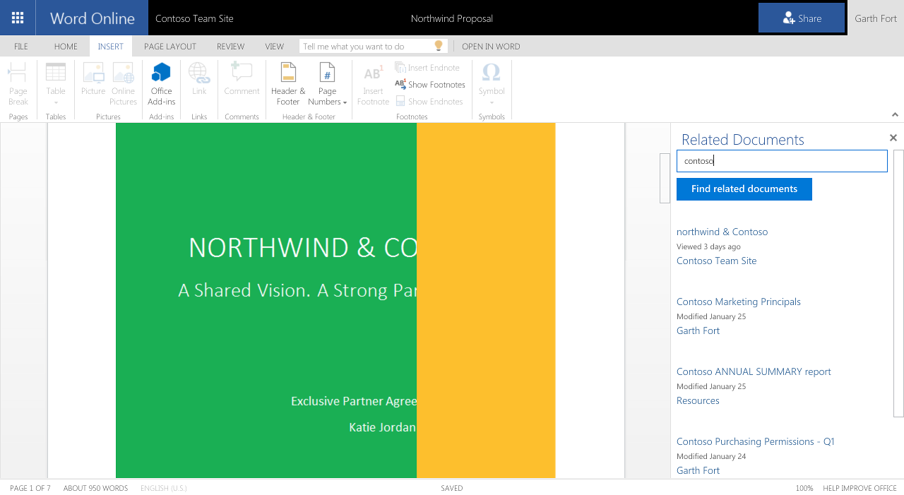 Office Add-in using the Office Graph in Word Online