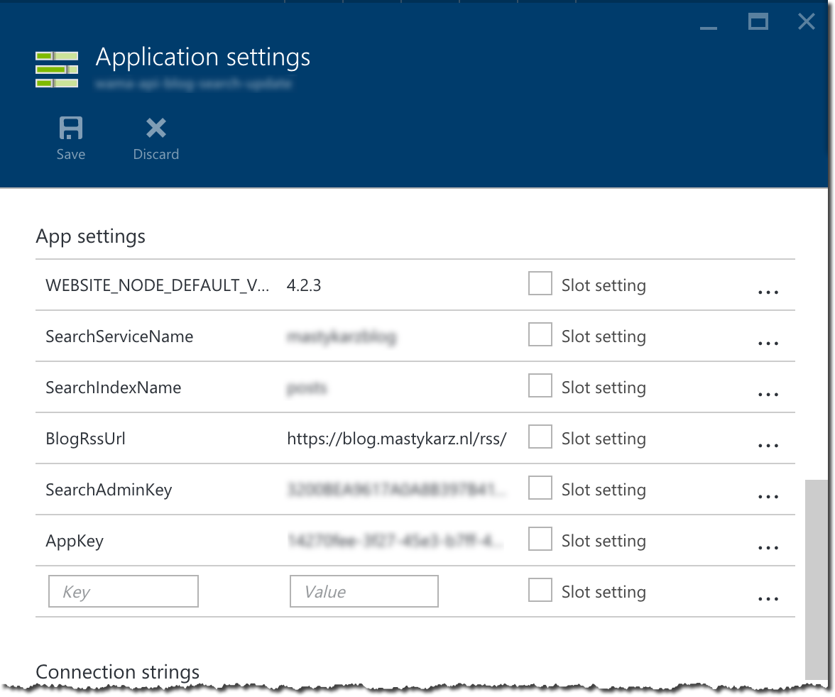 Settings of the Azure API App hosting the API to update the Azure Search Index