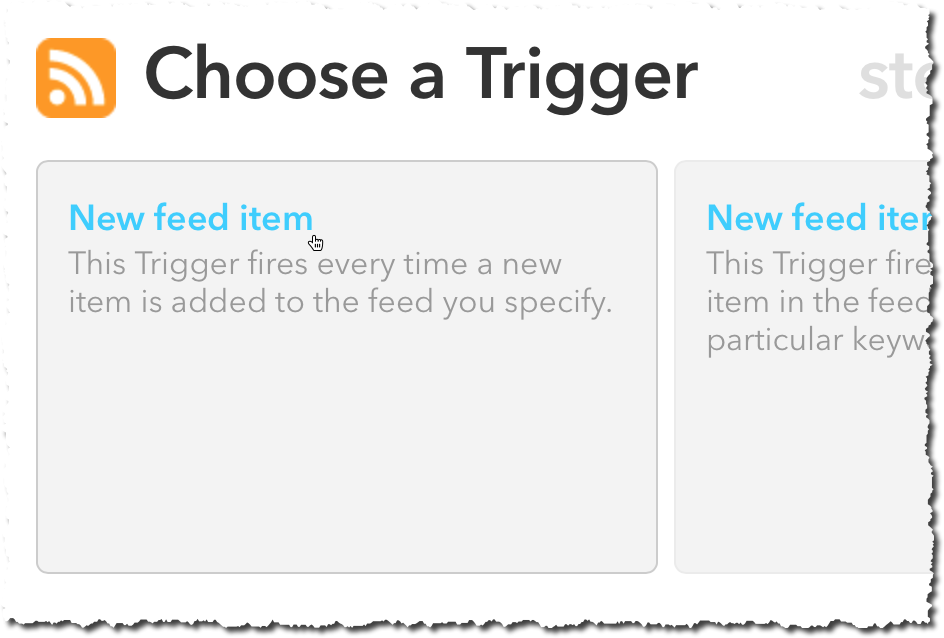 IFTTT New feed item trigger option
