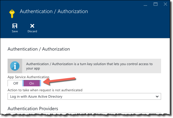 The 'App Service Authentication' toggle highlighted on the 'Authentication / Authorization' blade in Azure