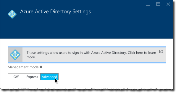 Advanced configuration mode enabled for Azure Active Directory authentication in the Azure App Service