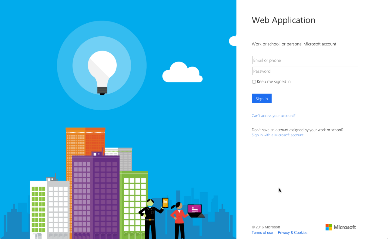 Azure Active Directory login page displayed when trying to access a web application hosted in an Azure Web App secured with the Azure App Service Authentication options
