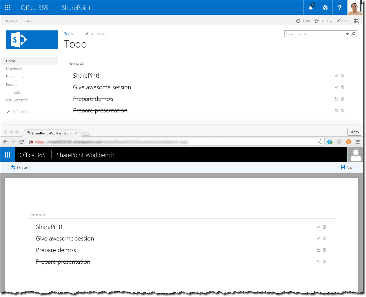SharePoint Todo Web Part before and after the migration