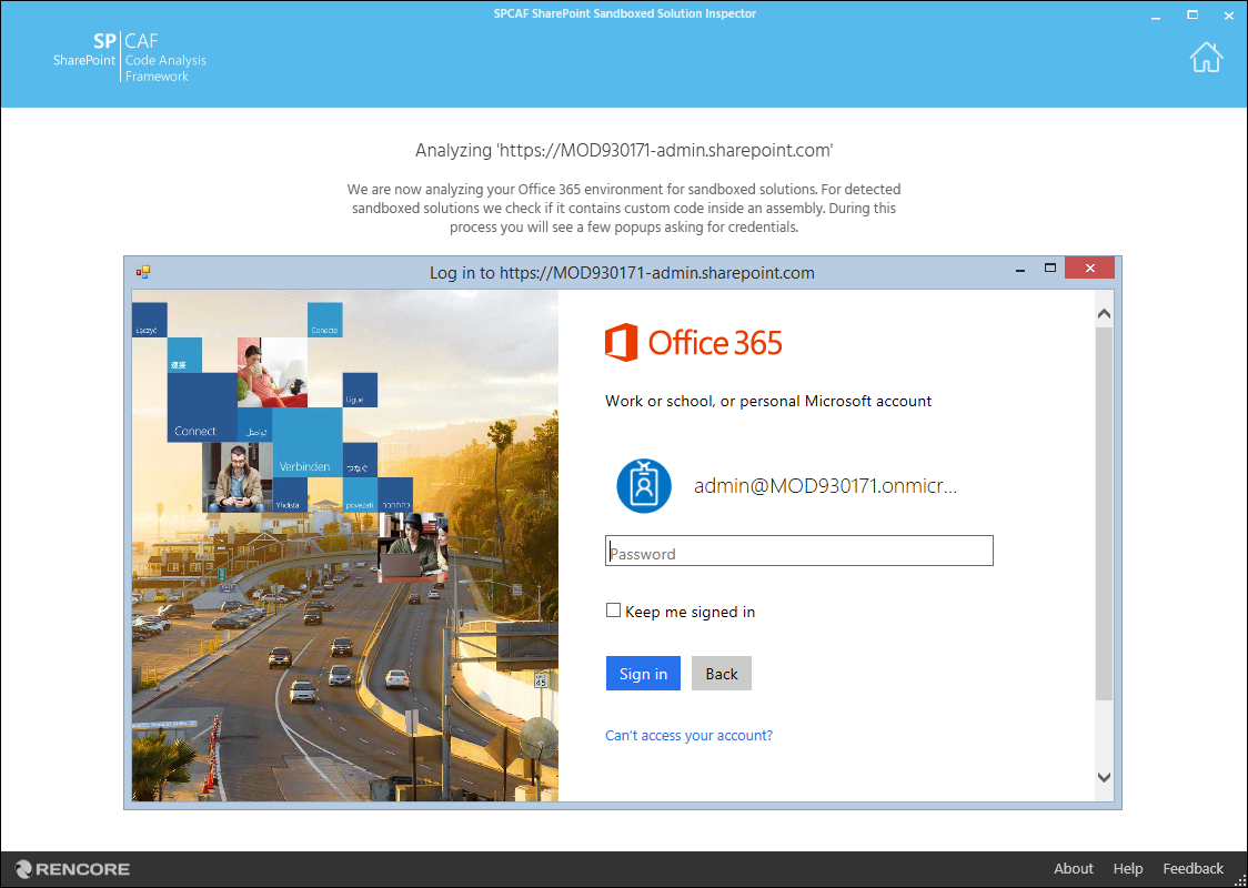 Azure Active Directory login popup in the Rencore SharePoint Sandboxed Solutions Inspector