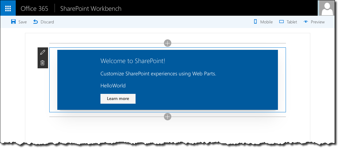 React Web Part as generated by the SharePoint Framework Yeoman generator displayed in the SharePoint Workbench