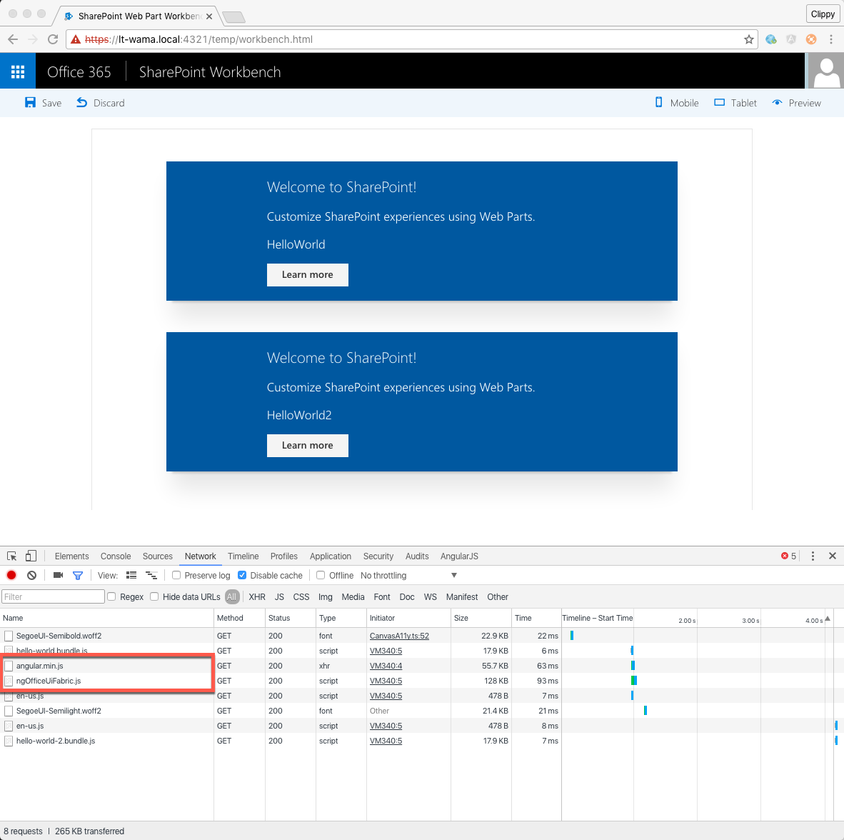 SharePoint Workbench opened with Chrome Developer Tools showing network stats for the current request