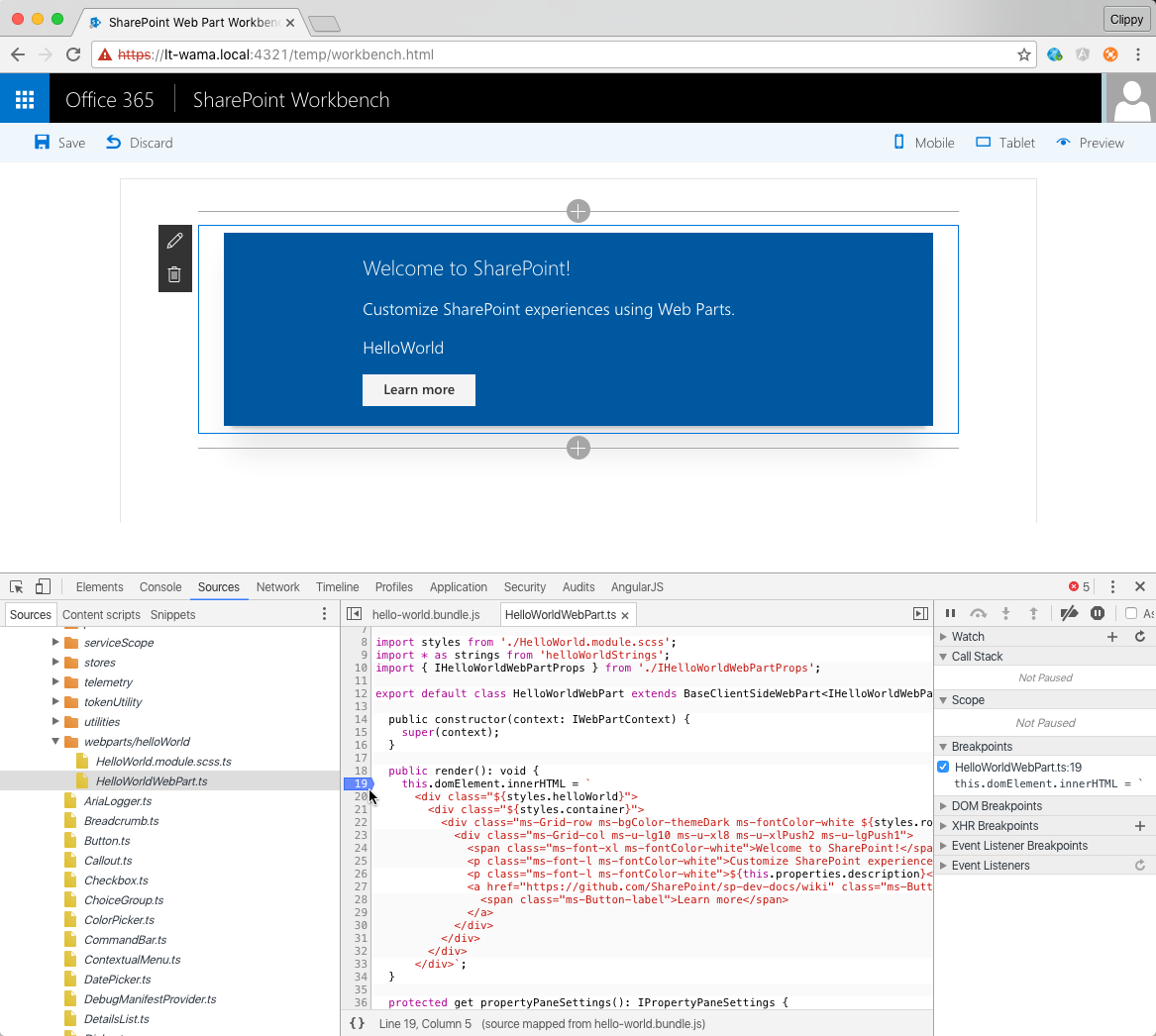 Breakpoint set in Chrome developer tools on the original SharePoint Framework source file