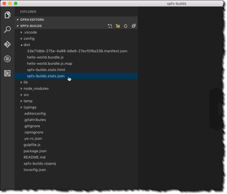 Webpack bundle statistics files highlighted in Visual Studio Code