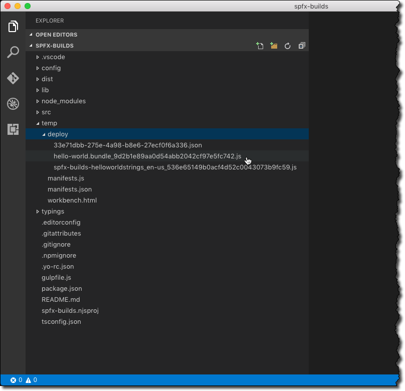 Hashes in the file names of release build files highlighted in Visual Studio Code