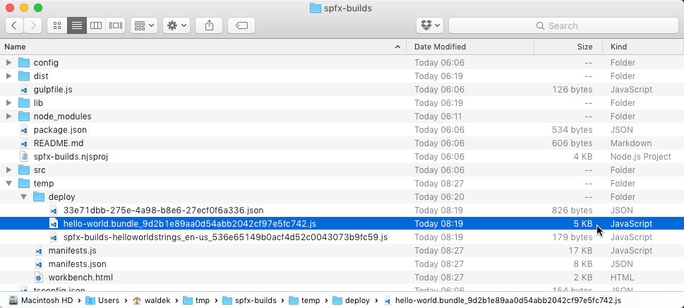 File size of the main Web Part bundle built in release mode highlighted in Finder