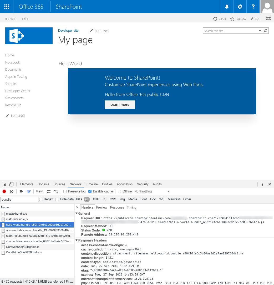 SharePoint Framework client-side web part loaded from Office 365 public CDN displayed on a page