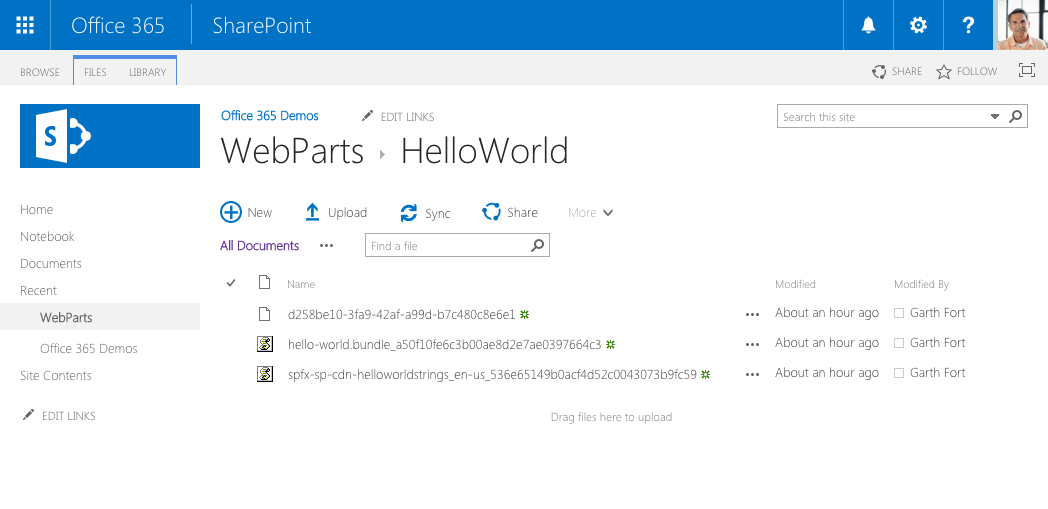 Web part files uploaded to the web part folder in the CDN folder in SharePoint