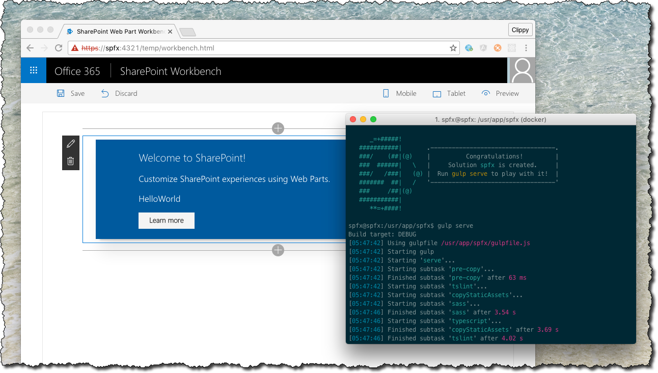 SharePoint Workbench open in browser running from a Docker container