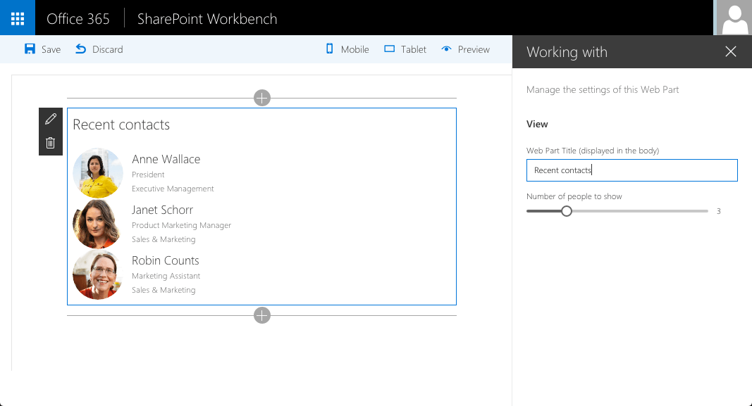 SharePoint Framework client-side web part showing people you have recently been working with