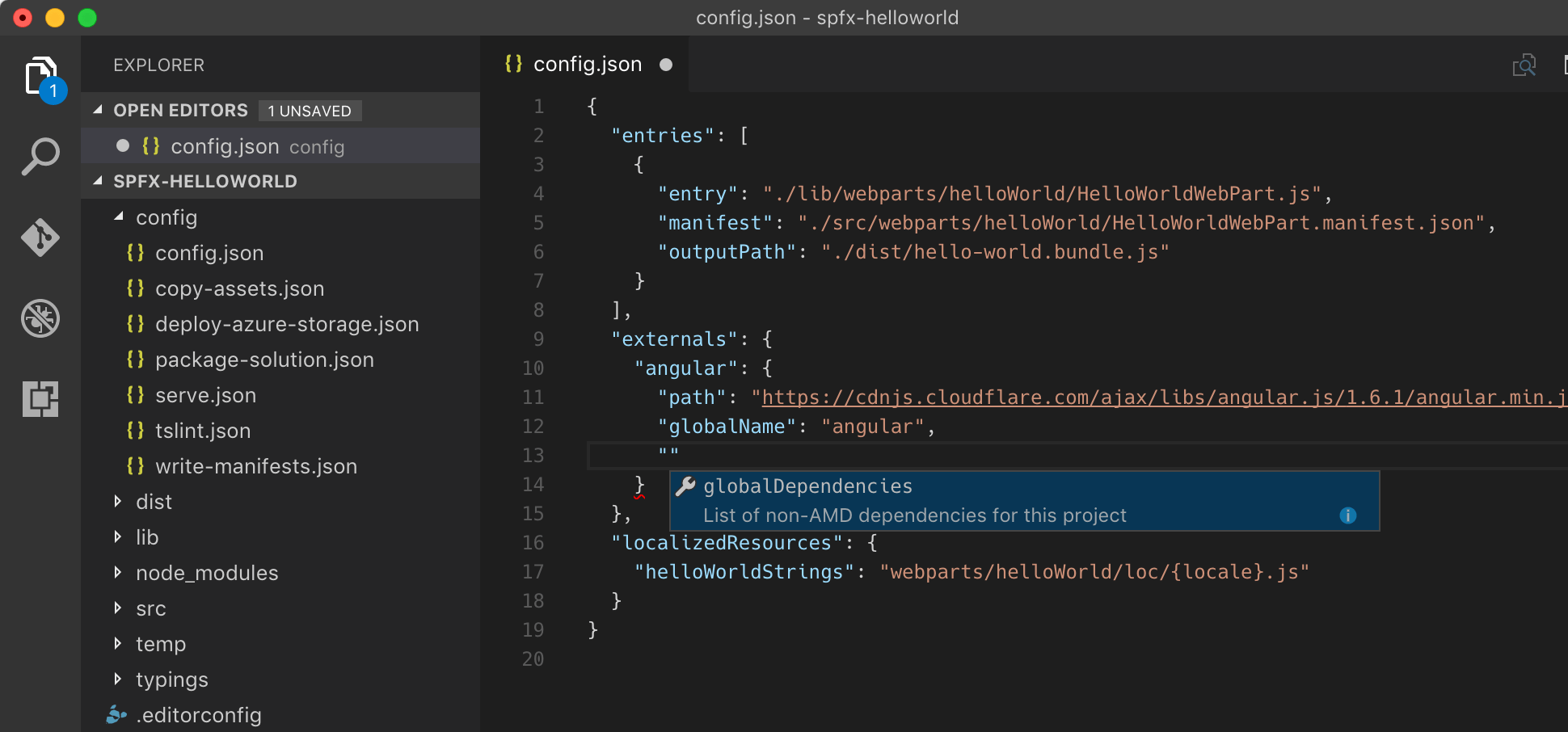 Visual Studio Code providing intelligence when editing SharePoint Framework project configuration