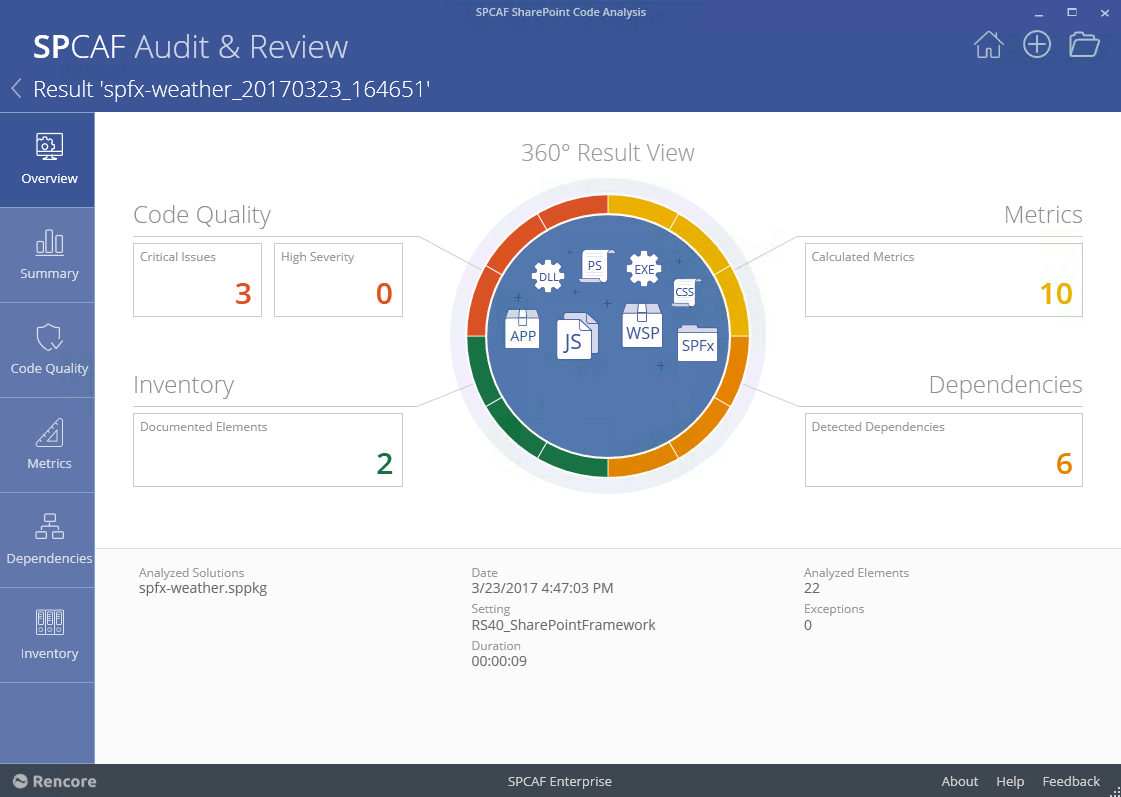 SPCAF showing issues in a SharePoint Framework solution