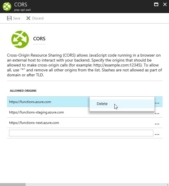 Delete Azure App Service CORS settings in the Azure Portal