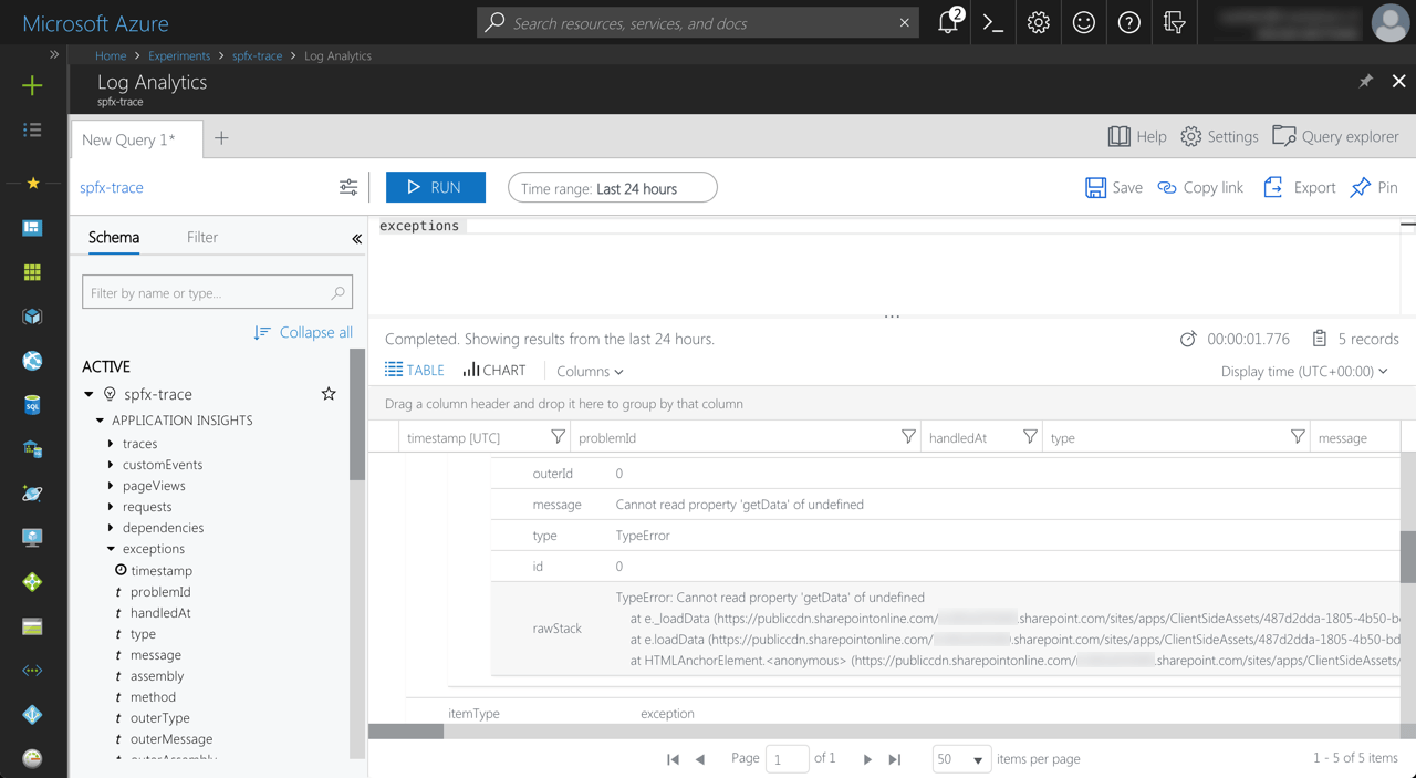 Exception with correct details logged by Application Insights