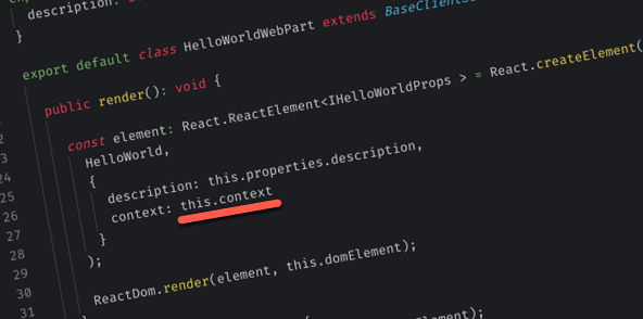 Don't pass the whole web part context into your React components