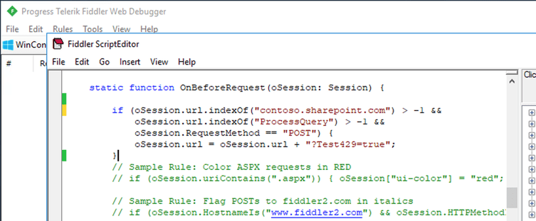 Custom rule added to Fiddler to force throttling on all SharePoint REST API requests