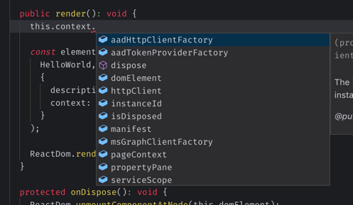 Partial list of properties of the web part context object displayed in Visual Studio Code