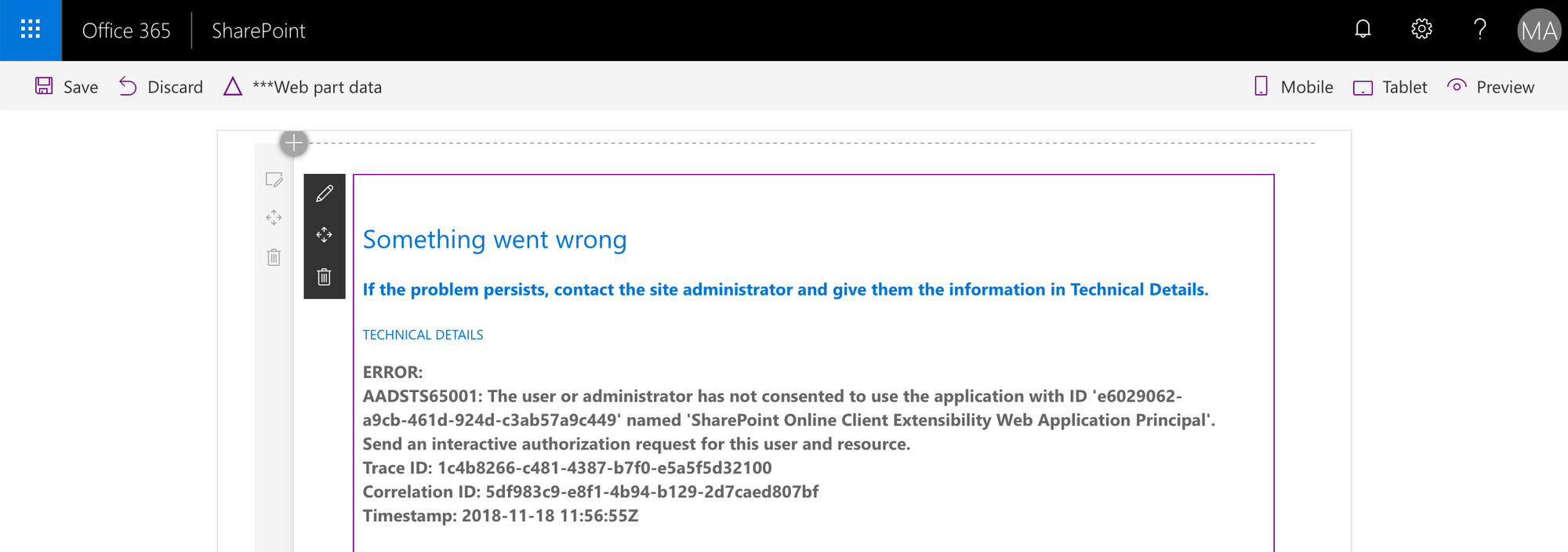 Azure AD error AADSTS65001 displayed by a SharePoint Framework web part