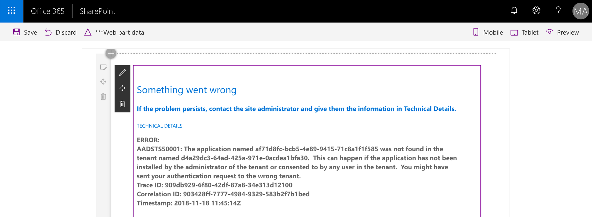 Azure AD error AADSTS50001 displayed by a SharePoint Framework web part