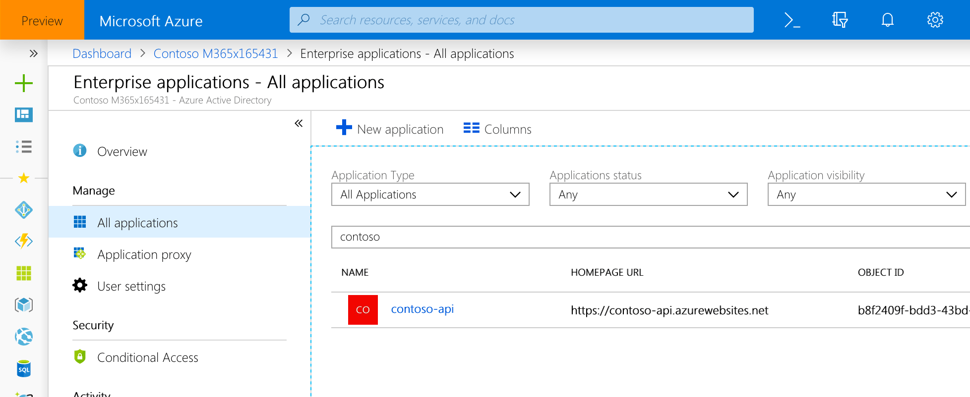 Azure AD application used to secure the API listed among Enterprise applications