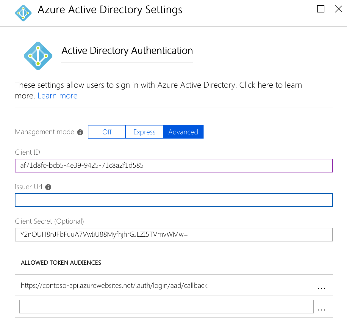 Empty Issuer URL property for an Azure AD application