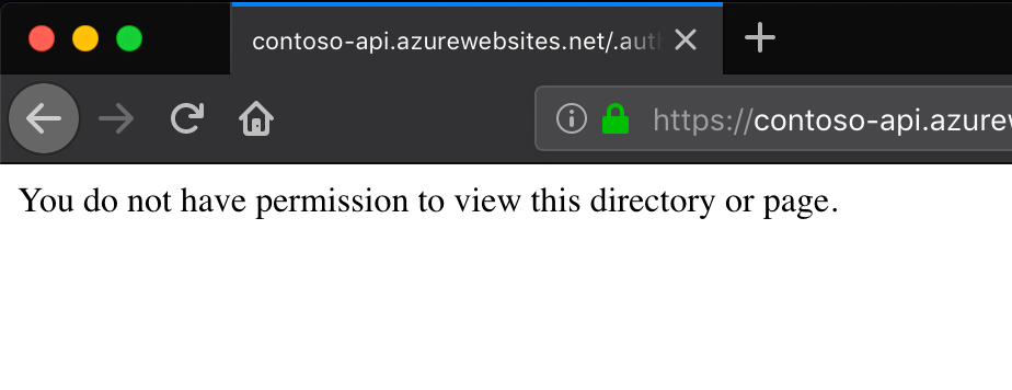The 'You do not have permission to view this directory or page.' displayed in the web browser