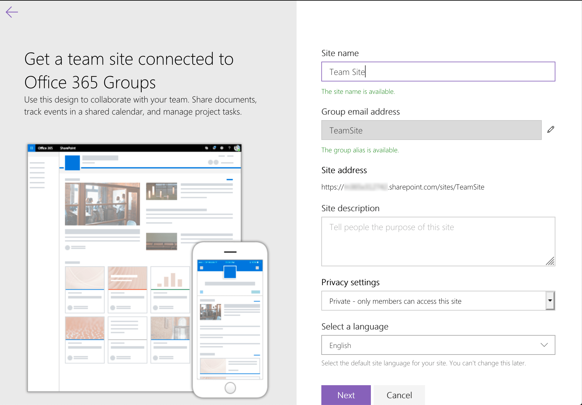 Creating modern Team Site in Office 365