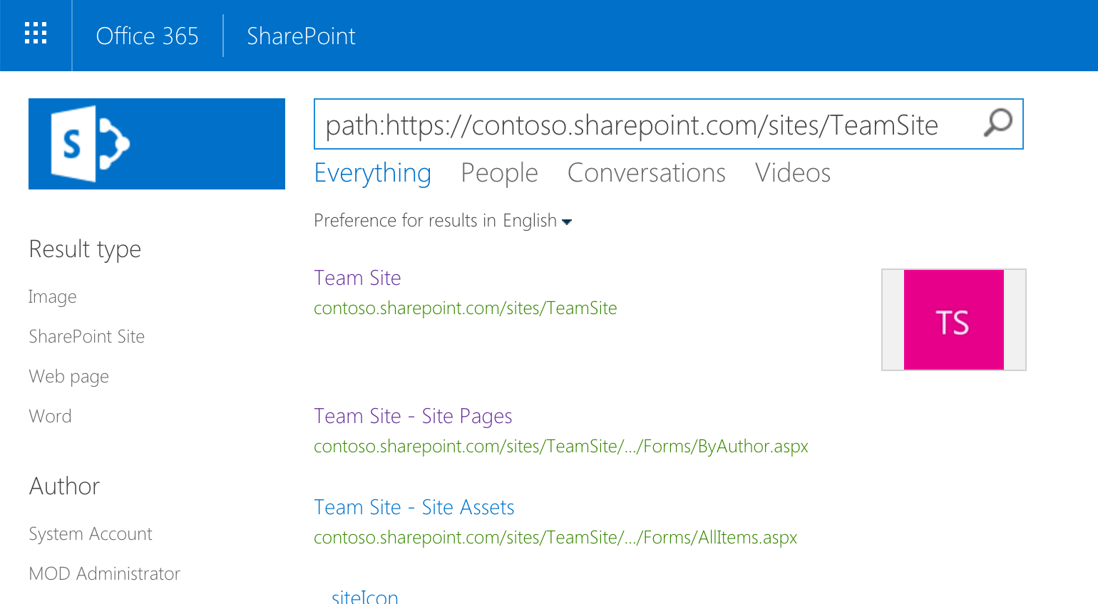 Information from the modern Team Site returned in SharePoint search results