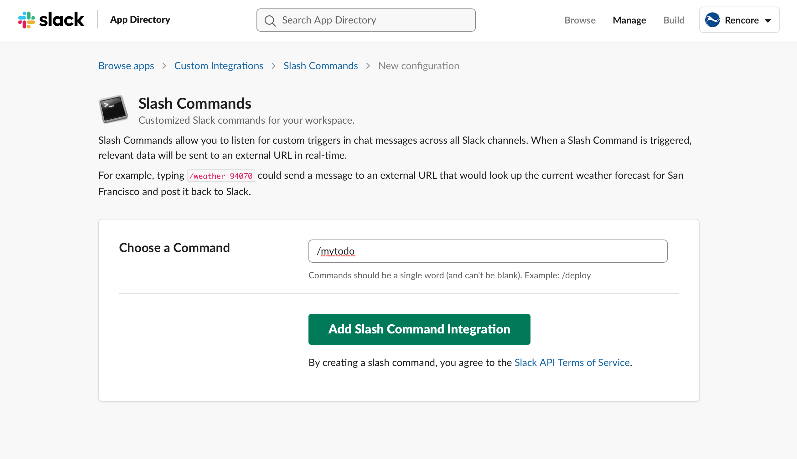 Adding new configuration in the Slash Commands app