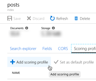 The 'Add scoring profile' option highlighted in the Azure portal