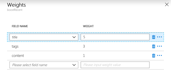 Weights configuration for a scoring profile in the Azure portal