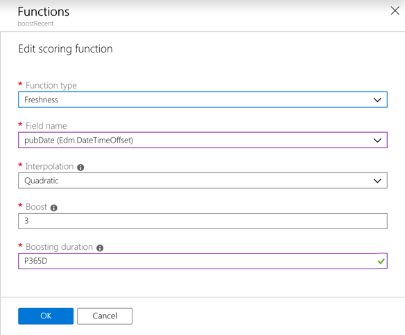 Function boosting content from last year in Azure Search