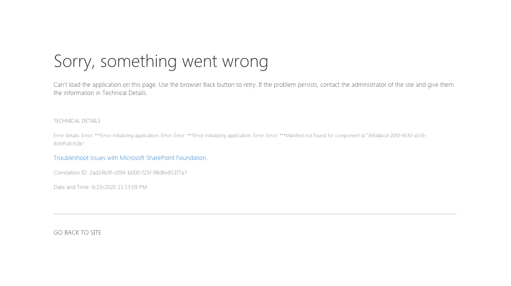 Error page when trying to use SharePoint Framework web part as a Teams tab