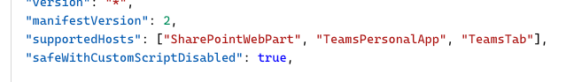 The supportedHosts property in a SharePoint Framework web part manifest