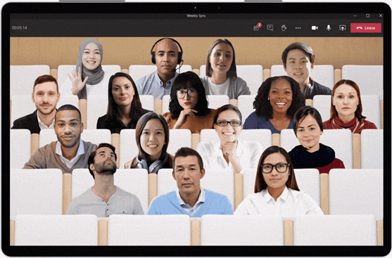 Participants in a video call using Microsoft Teams displayed in a theater setting using the Together mode