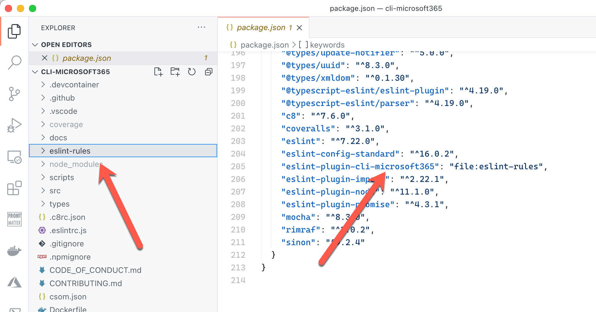 Arrow pointing to the subfolder with custom eslint rules. Another arrow pointing to a line in package.json referring to that folder