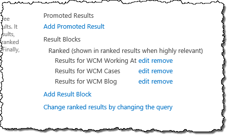 Result blocks for the Query Rules targeting visitors with interest in technology and WCM