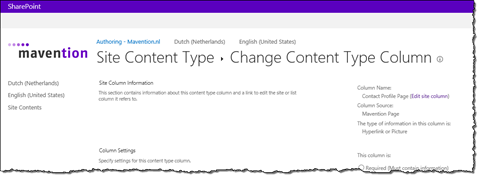 Configuration of the Contact Profile Page column in SharePoint 2013