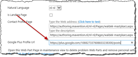 Adding Google+ Profile page URL to the Maven profile page