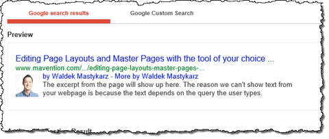 Google authorship information displayed in the Google Structured Data Testing Tool