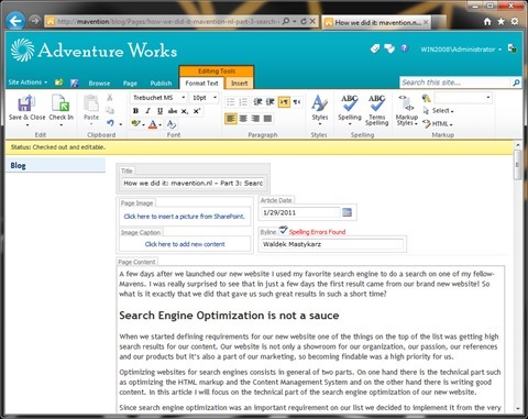 SharePoint 2010 spell check results